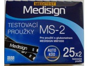 Testovací proužky Meditest Medisign MS-2 pro MM1000 25 ks