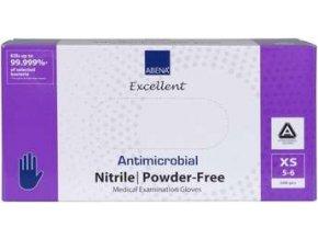 Rukavice vyšetřovací antimikrobiální NITRIL XS, nepudrované